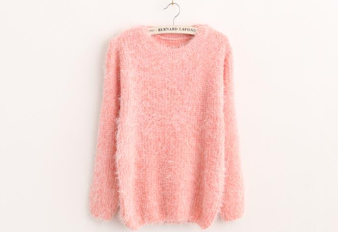 Mohair plush winter pullover light pink