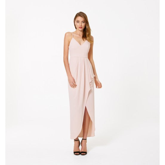 Clemonte Ileana V neck split front dress - nude pink