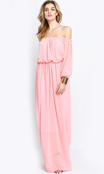 Clemonte Pink 3/4 Sleeve Ruffle Off The Shoulder Pleat Maxi Dress