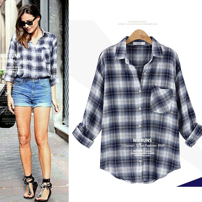 Clemonte Casual Long sleeve navy check Plaid Shirt Blouses for women