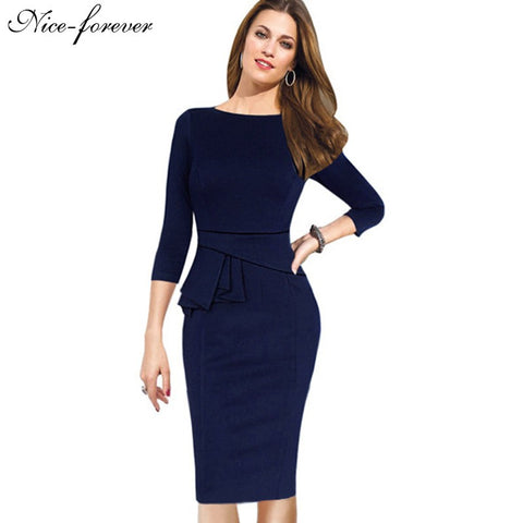 Clemonte Dark blue Pencil Bodycon Female peplum formal workwear office Dress for women