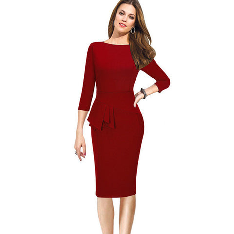 Clemonte wine red Pencil Bodycon Female peplum formal workwear office Dress for women