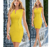 Clemonte Yellow bodycon pencil dress