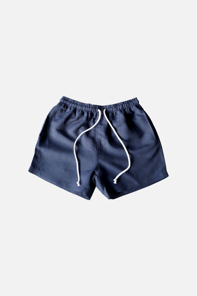 LINEN SHORTS (Navy Blue ) - ILUSTRADOS