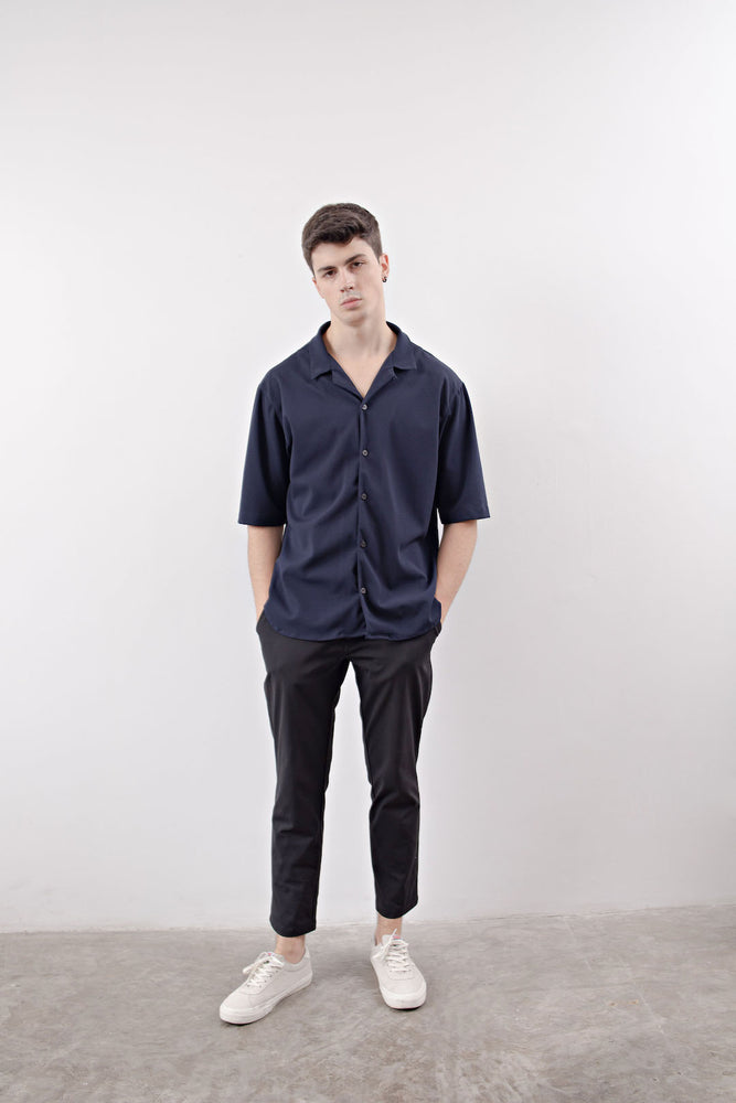 NOTCHED COLLAR SHIRT (Blue)