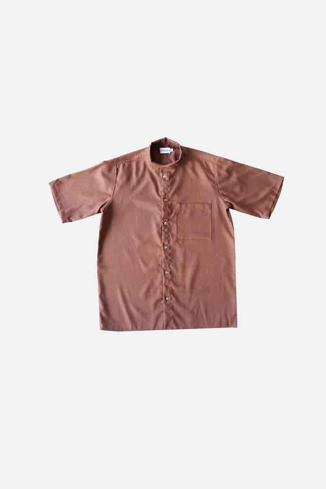 HOVERMEN- Mandarin Shirt (Dark Brown) (4490079273037)