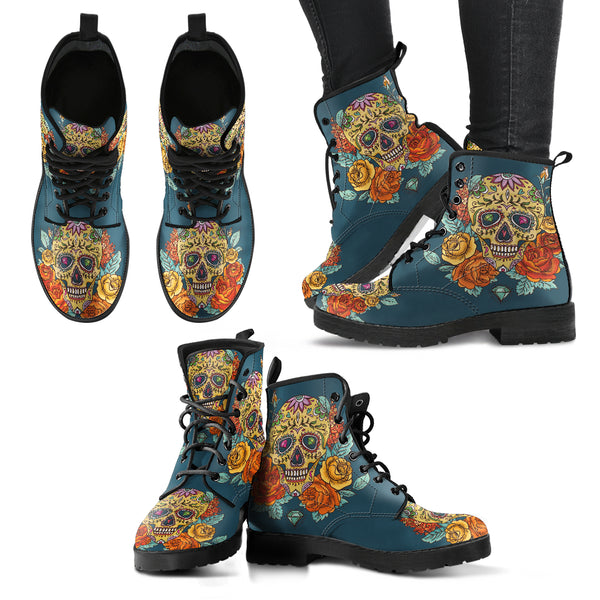 Sugar Skull Women's Leather Boots (+free pair matching sandals)