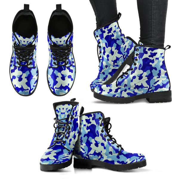 Blue Camouflage Womens Leather Boots (+free pair matching sandals)
