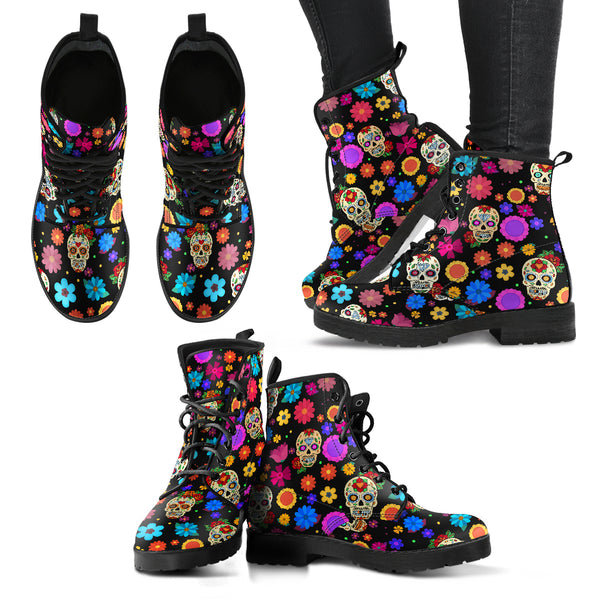 Sugar Skull Party Vegan Leather Boots for Women (+free pair matching sandals)