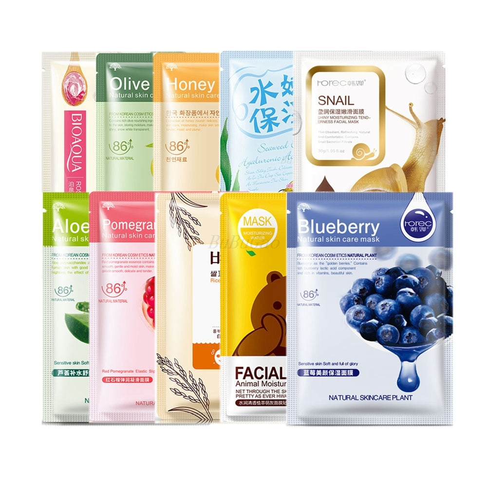 10-Pack Korean Skincare Recipe Face Masks (with therapeutic oils)
