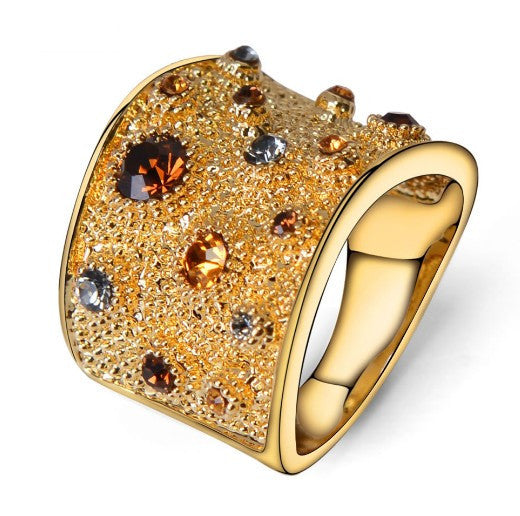 Viennois Wide Gold Plated Cocktail Ring
