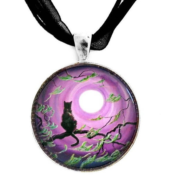 FREE 'Cat in Purple Moonlight' Pendant Necklace [save 19.87]
