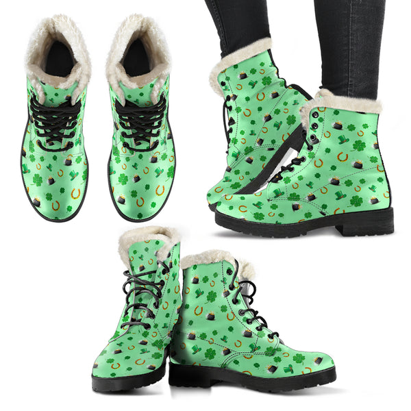 St Patricks Day Faux Fur Leather Boots (+ free pair matching sandals)