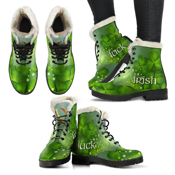 St Patricks Irish Luck Faux Fur Leather Boots (+free pair matching sandals)
