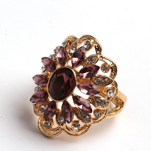 Women Crystal Colorful Flower Ring