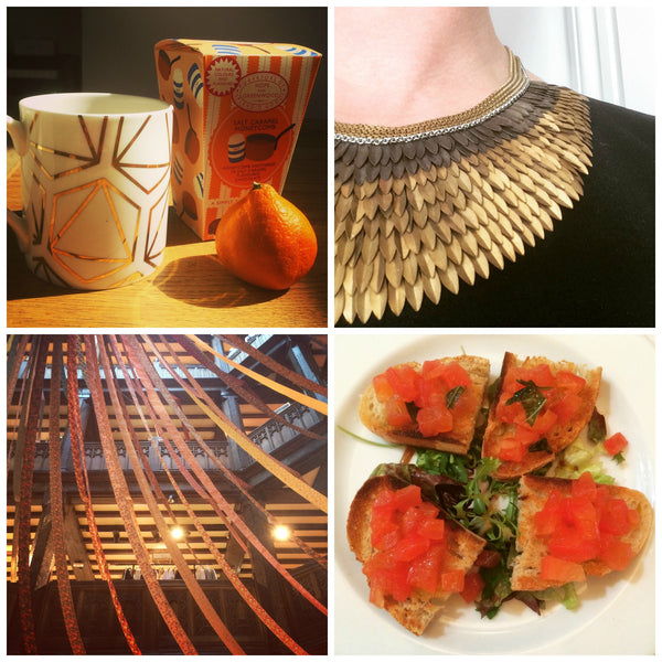 1Day12Pics 12 pictures from 6th June - Gold leaf mug, feather necklace, Liberty and bruschetta - Yellow Lolly Blog