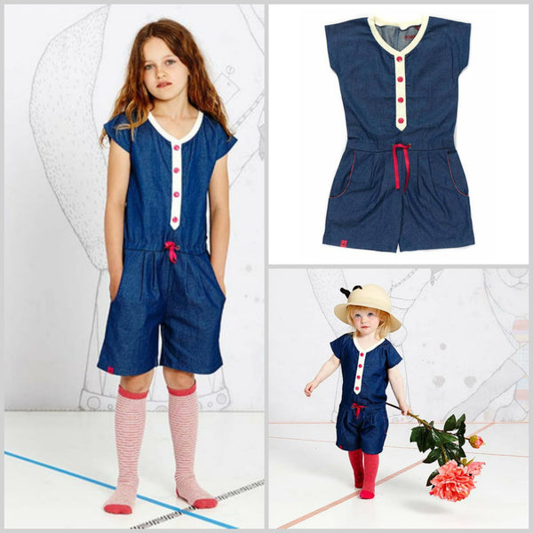 AlbaBaby Eycana Denim Kid's Short Jumpsuit - Yellow Lolly