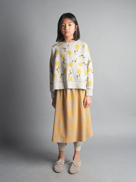 Bobo Choses Spoons Oversized Sweatshirt and Mustard Striped Midi Skirt, from Yellow Lolly