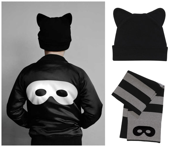 Beau Loves Black Bomber Jacket, Knitted Cat Beanie and Jacquard Scarf from Yellow Lolly