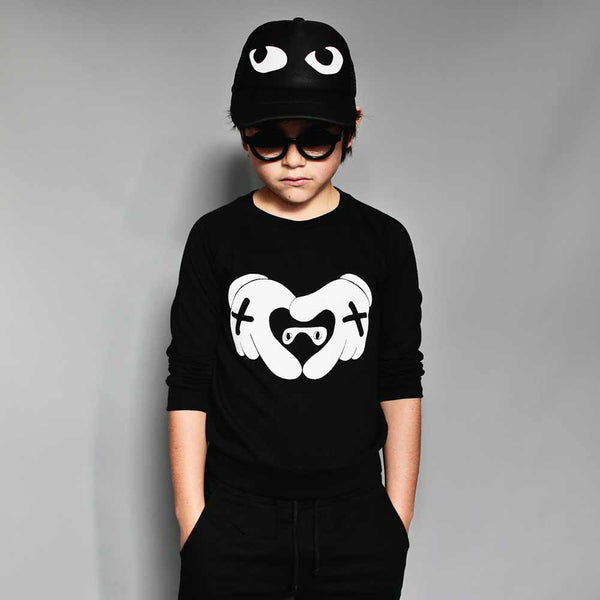 Beau Loves Inky Black Heart Hands Raglan Sweat Top from Yellow Lolly