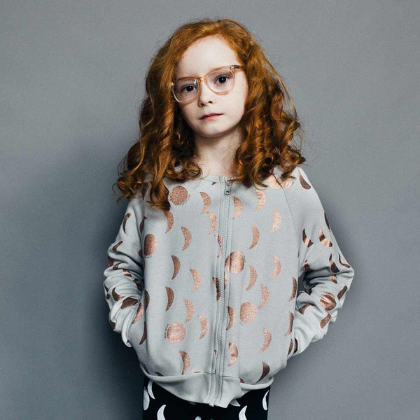 Beau Loves Copper Foil Moons Zipped Sweatshirt - Yellow Lolly