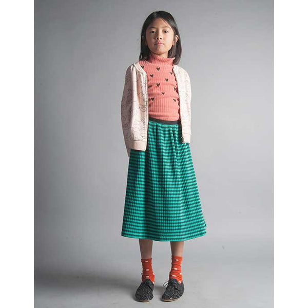 Bobo Choses Ribbed Couers Turtleneck, Green Midi Skirt and Pink Doves Zipped Sweatshirt from Yellow Lolly