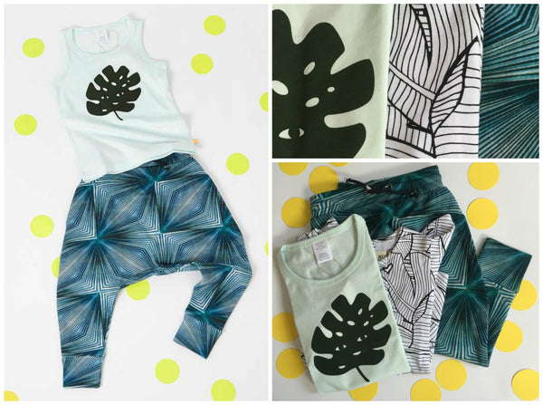 Botanical kids fashion from Yellow Lolly including Agatha Cub, Tinycottons and Milk & Biscuits.
