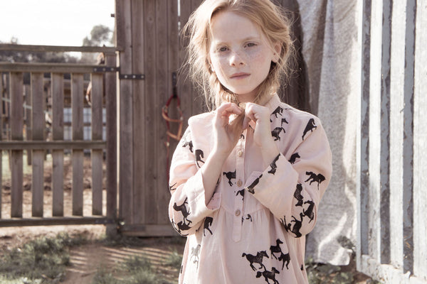 Bobo Choses Pink Horses Dress AW15/16 at Yellow Lolly