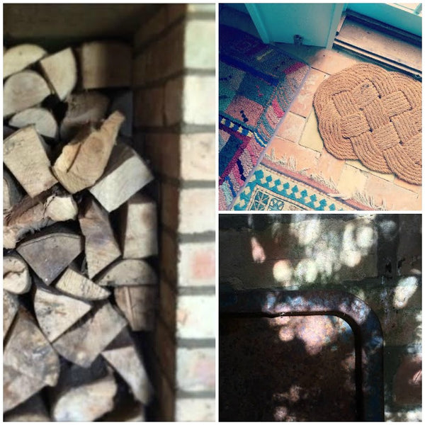 ~1Day12Pics Woodpile, Rugs and sunlight patterns on the Yellow Lolly Blog