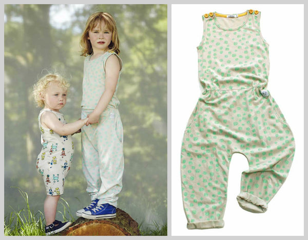 Indikidual Amaze Spotty Kids Organic Cotton Jumpsuit - Yellow Lolly