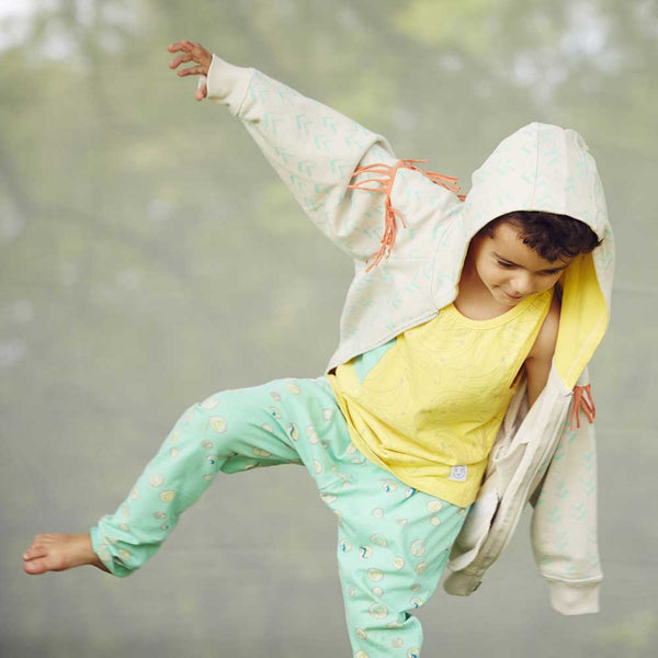 Indikidual Cochella Tasselled Chevron Print Hoody and Tum Tum Banana Print Vest. Organic kid's fashion at Yellow Lolly