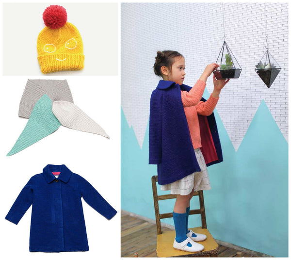 Milk and Biscuits Blue A-Line Child's Coat, Knitted Scarf and Yellow Borris Hat by Indikidual, from Yellow Lolly