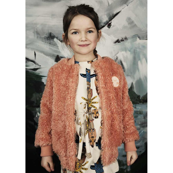 Mini Rodini Pale Coral Shaggy Baseball Jacket from Yellow Lolly