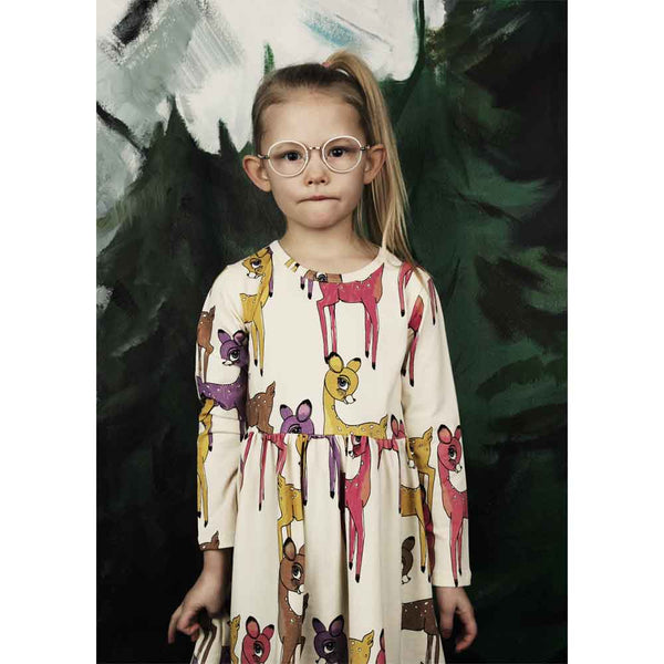 Mini Rodini Pink Roe Deer Long Sleeve Dress - Yellow Lolly