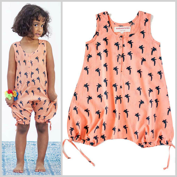 Nadadelazos Palm Tree Printed Organic Cotton Kids Jumpsuit - Yellow Lolly