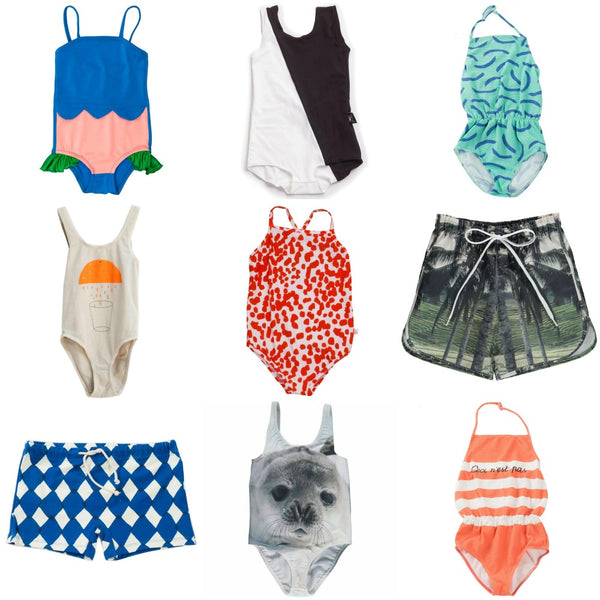 Nine great kid's swimsuits from Yellow Lolly, including Bobo Choses, Popupshop, BangBang CPH and Nadadelazos.