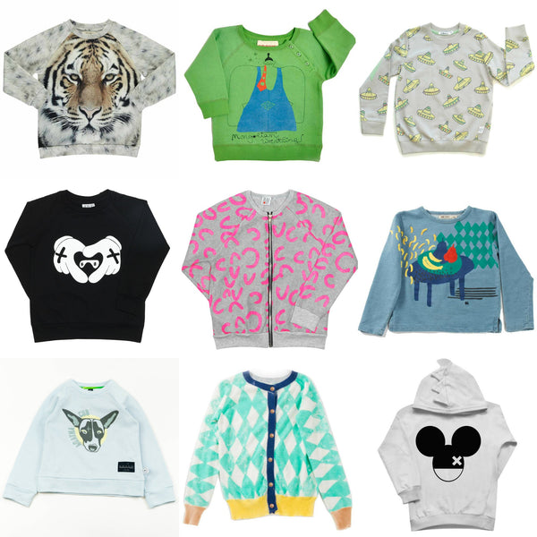 Nine great sweatshirt for kids from Yellow Lolly, including Beau Loves, Bobo Choses, Nadadelazos, Indikidual, Agatha Cub and Popupshop.