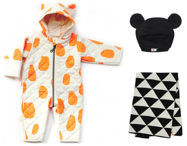 Noe and Zoe Orange Dots Quilted Suit, Tint Cottons Blanket and Beau Loves Baby Hat From Yellow Lolly