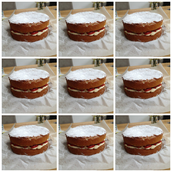 Victoria sponges for the school PTA - Yellow Lolly Blog