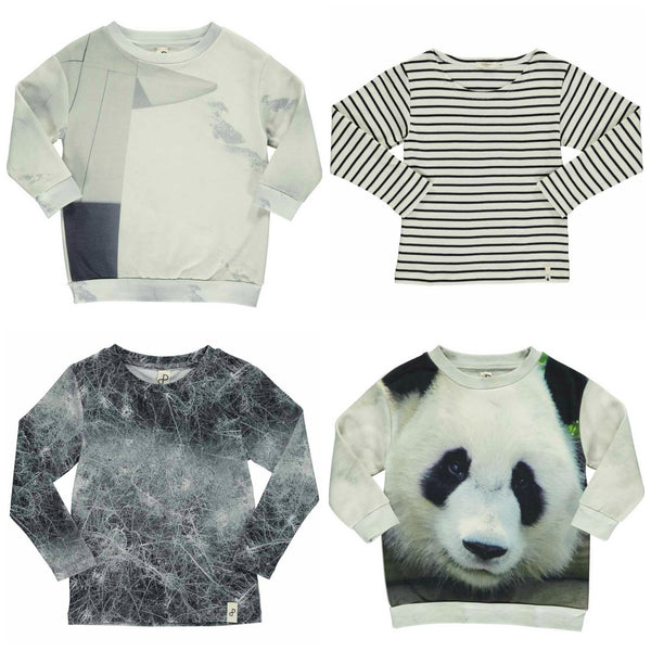 Popupshop monochrome kids t-shirts and sweatshirts from Yellow Lolly