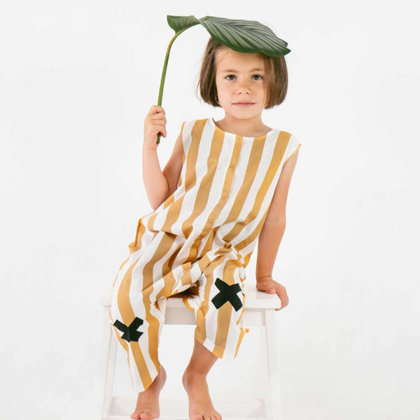 Tinycottons Wide Striped Cotton Logo Playsuit from Yellow Lolly