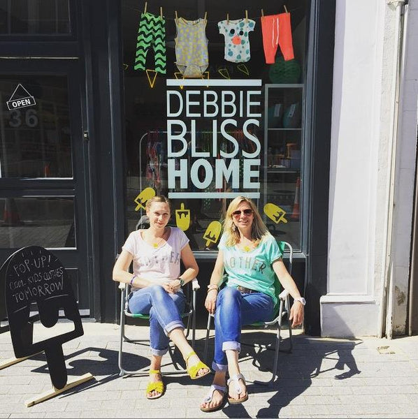Ellie and Claire form Yellow Lolly, outside their Pop-up shop, at Debbie Bliss Home.