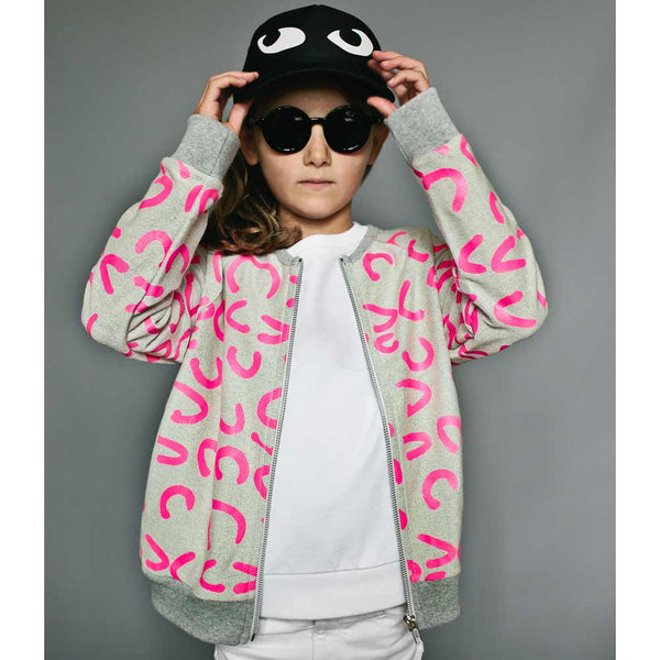 Beau Loves Neon Pink Modern Leopard Zip Sweat from Yellow Lolly