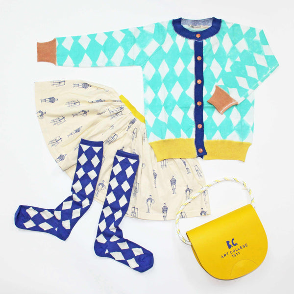 Bobo Choses Diamonds Knitted Cardigan, Painters Jersey Skirt, Diamonds Knee Socks, Yellow Princess Saddle Bag - Yellow Lolly