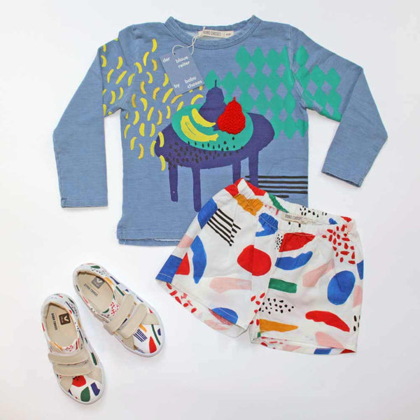 Bobo Choses Still Life Sweatshirt, Matisse Kid Boxing Shorts and Veja Matisse Sneakers - Yellow Lolly