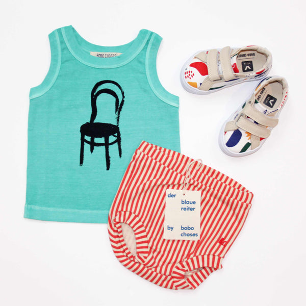 Bobo Choses Thonet Vest, Striped Culottes and Veja Matisse Sneakers - Yellow Lolly
