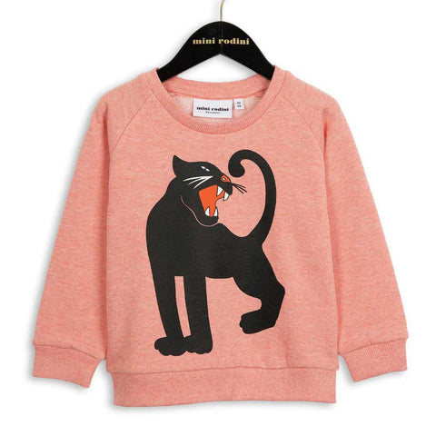 Mini Rodini Pink Melange Panther Sweatshirt at Yellow Lolly