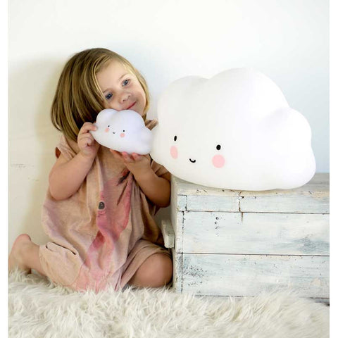 Girl holding A Little Lovely Company White Mini Cloud Light - Yellow Lolly