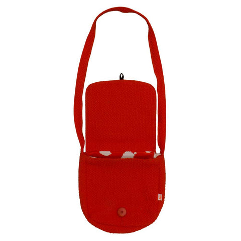 Noé & Zoë AW16 Tomato Red Fox Ears Shoulder Bag - Open View