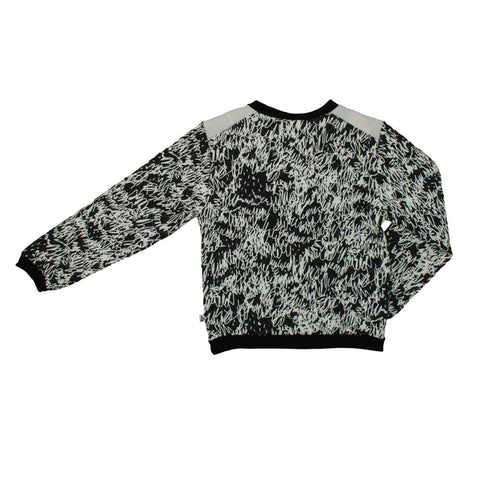 Noé and Zoë Black Scribble Quilted Sweatshirt - Back View
